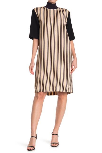 Image of DRIES VAN NOTEN Stripe Ribbed Trim Sheath Dress