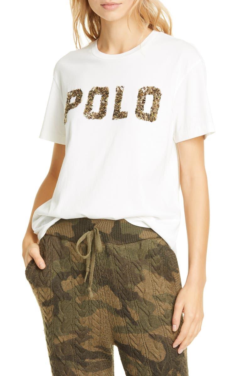 POLO RALPH LAUREN Beaded Logo Cotton Tee, Main, color, NEVIS