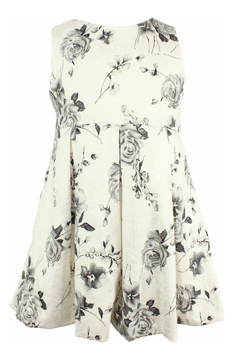 POPATU Embroidered Flower Fit & Flare Dress, Main, color, WHITE/ BLACK