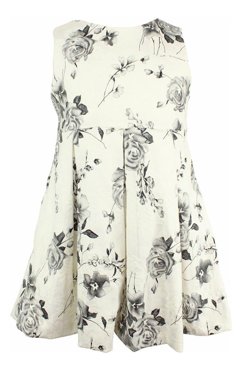 POPATU Flower Print Fit & Flare Dress, Main, color, WHITE/ BLACK