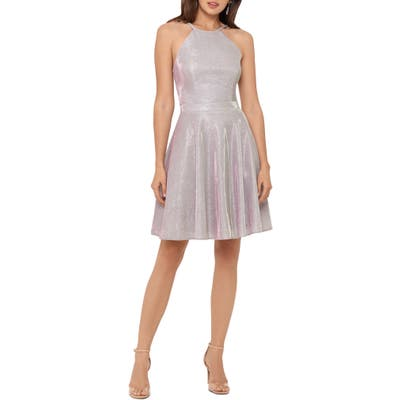 Xscape Halter Neck Metallic Knit Party Dress, Pink