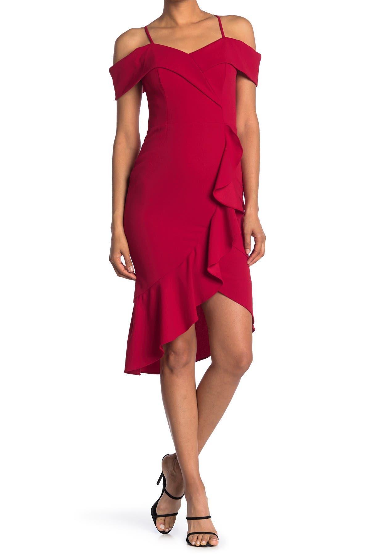 Image of bebe Cold Shoulder Ruffle Hem Midi Dress