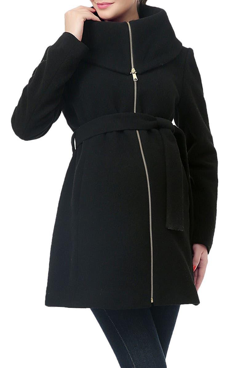 KIMI AND KAI Mia High Collar Wool Blend Maternity Coat, Main, color, BLACK