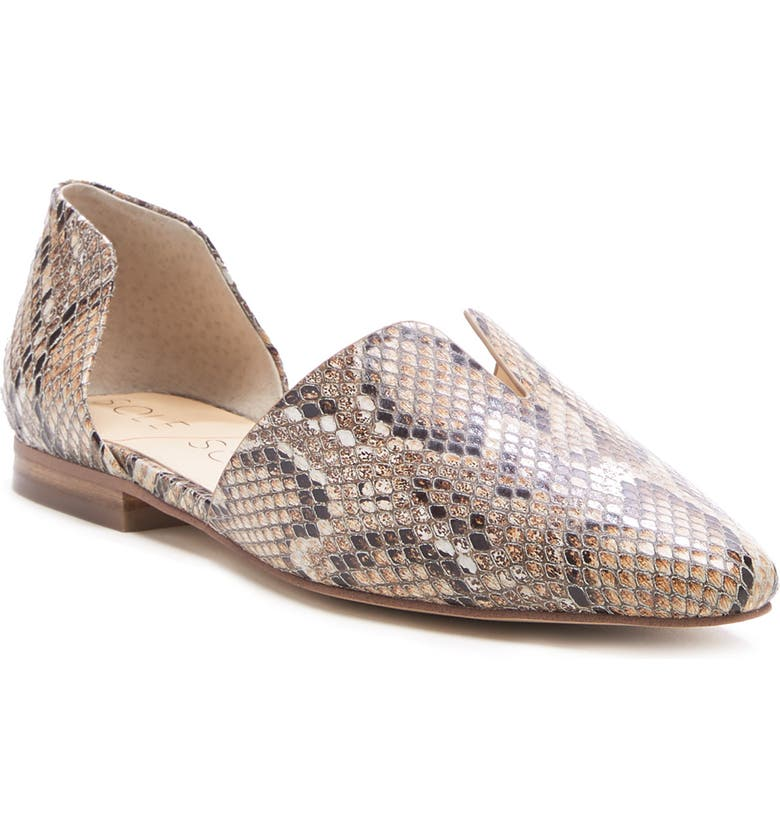 SOLE SOCIETY Benna d'Orsay Loafer, Main, color, BROWN MULTI SNAKE EMBOSSED