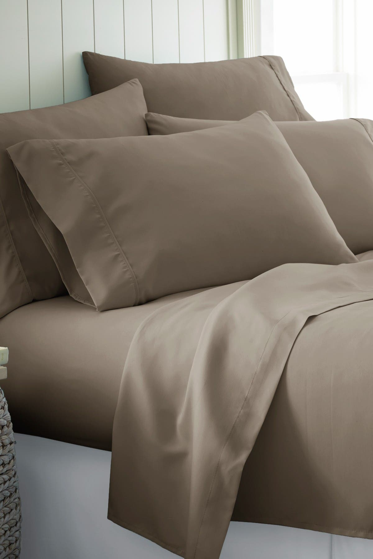 Image of IENJOY HOME Twin Hotel Collection Premium Ultra Soft 4-Piece Bed Sheet Set - Taupe