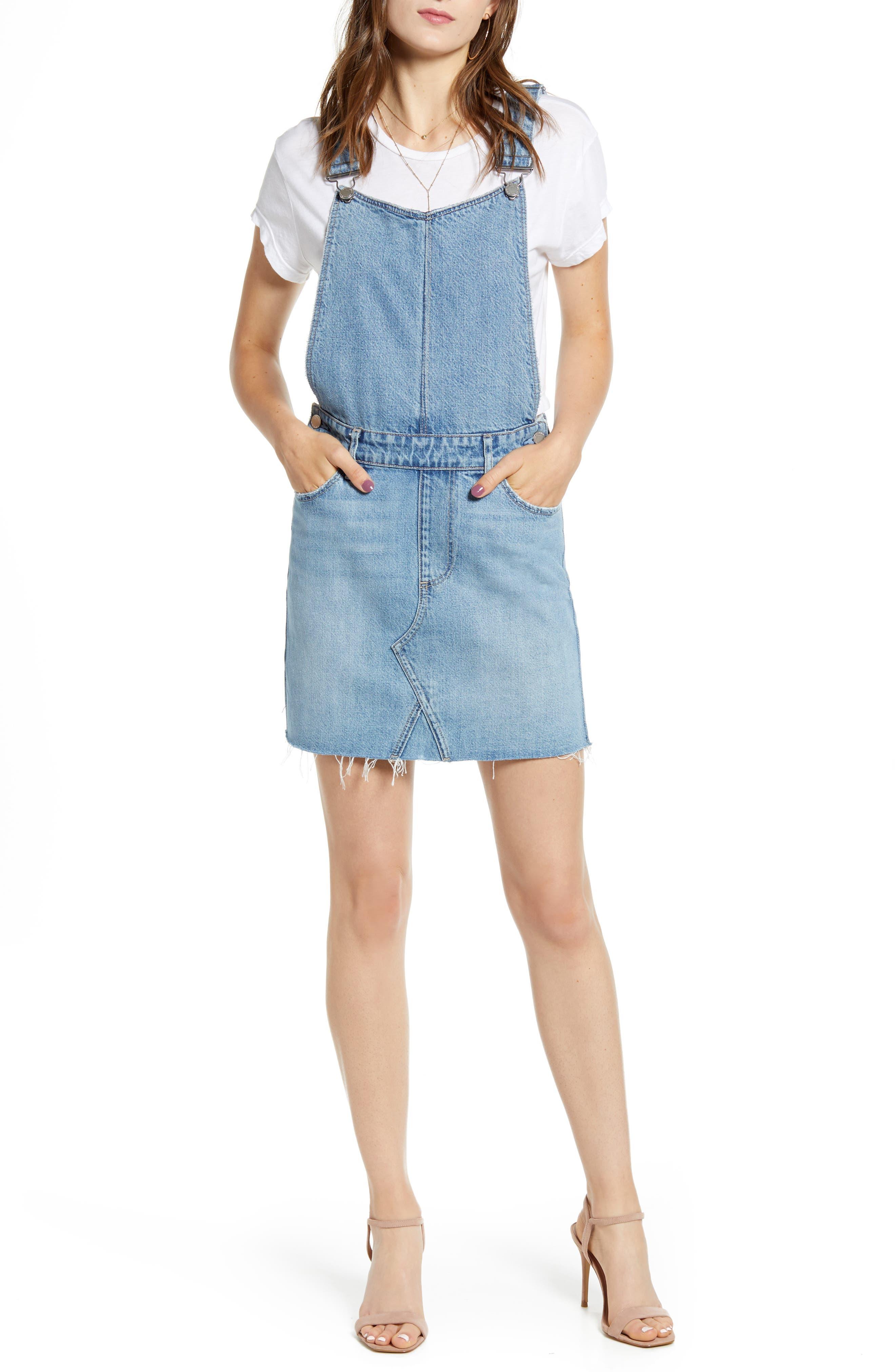 Paige Retta Denim Pinafore Dress, Blue