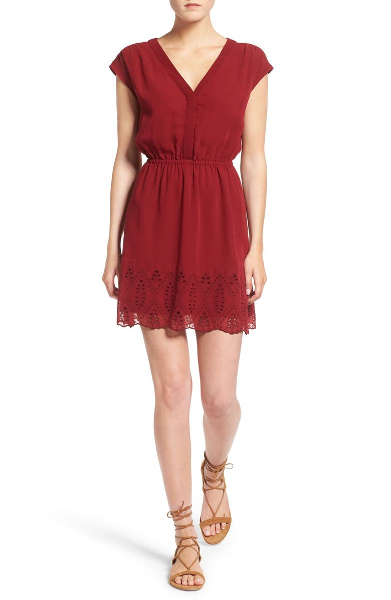 MADEWELL Short Sleeve Embroidered Minidress, Main, color, 600