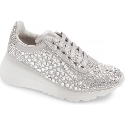 Steve Madden Carissa Embellished Wedge Sneaker- Metallic