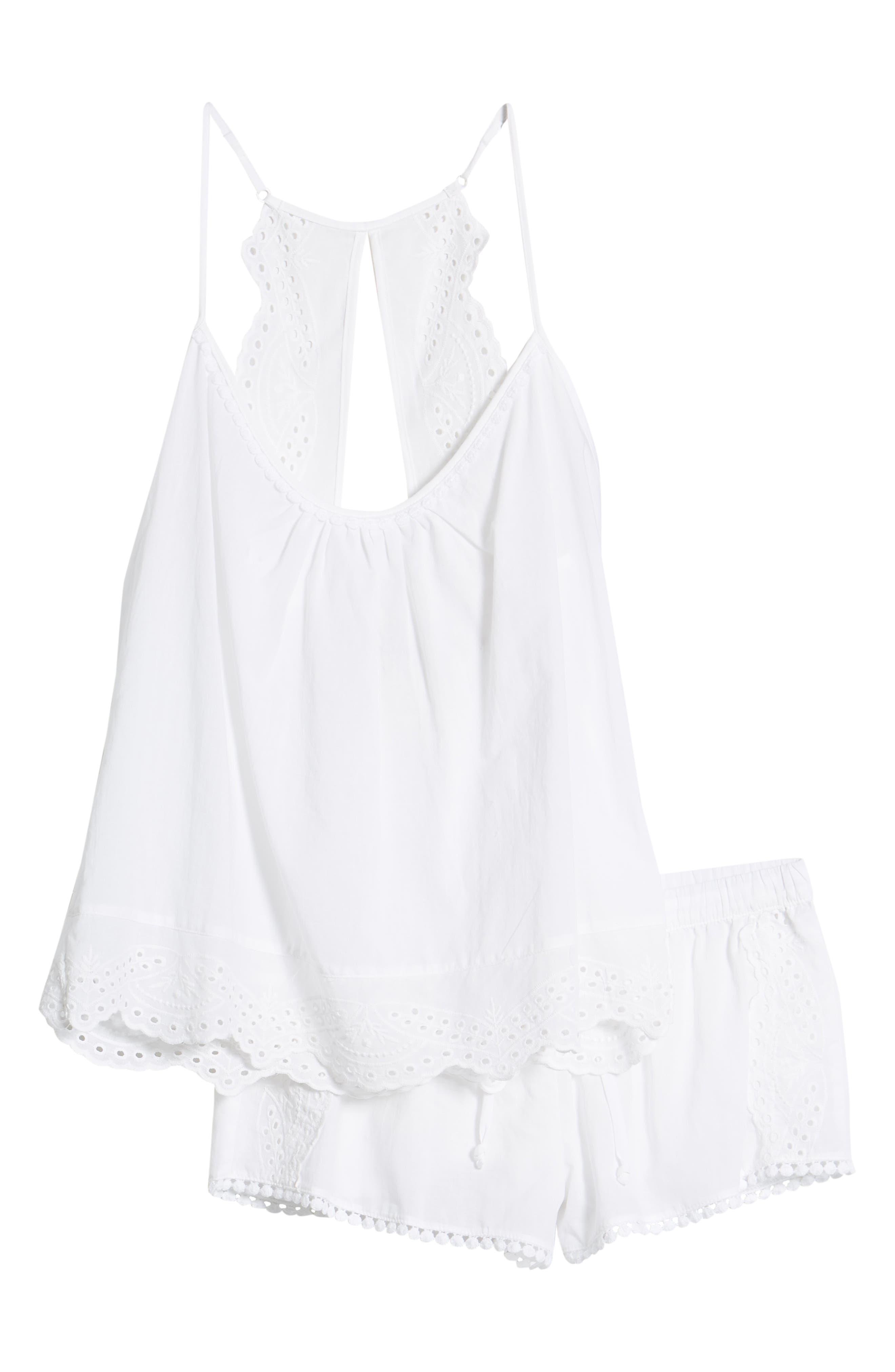 ,                             Eyelet Short Pajamas,                             Alternate thumbnail 5, color,                             WHITE
