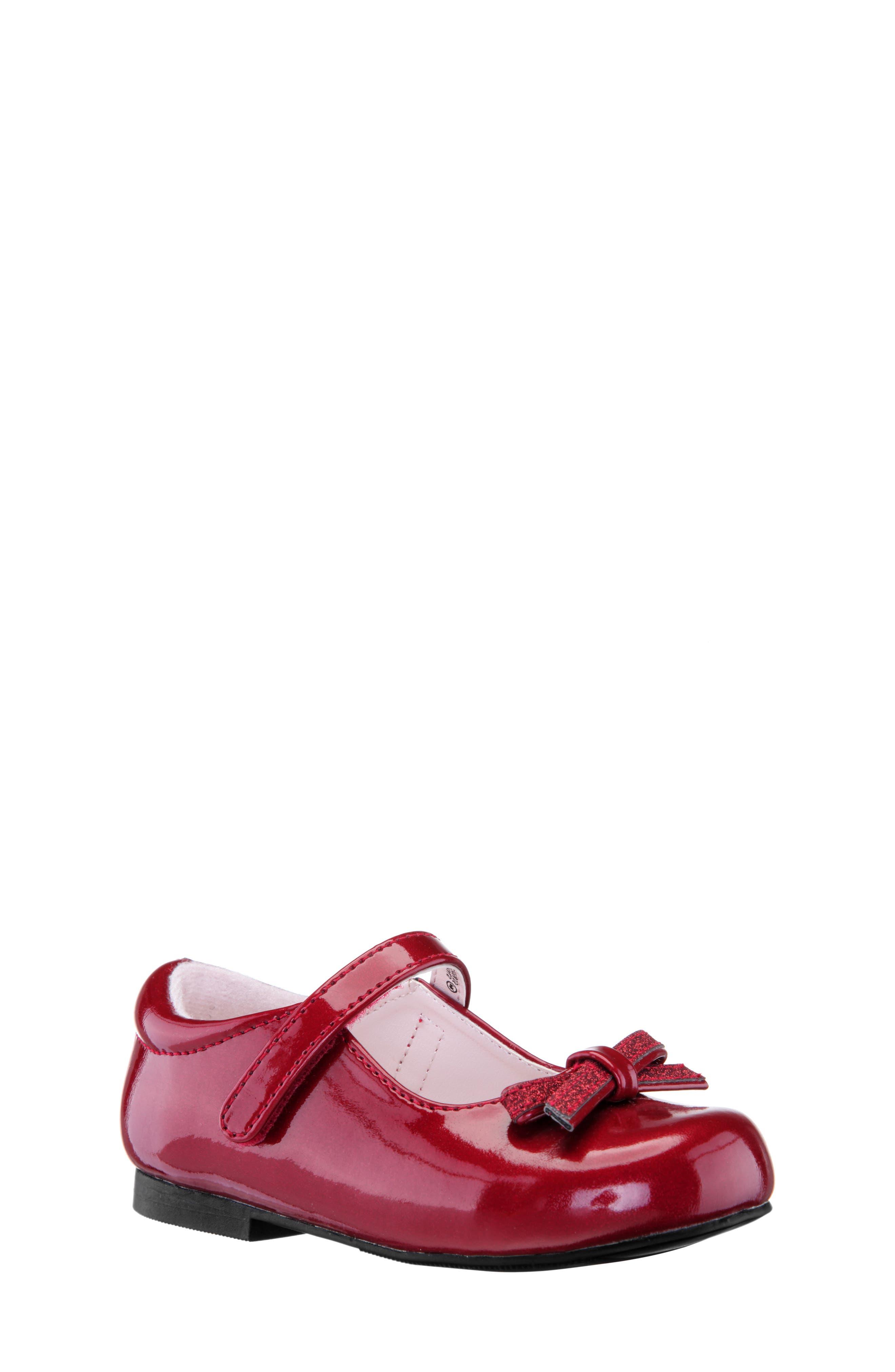 Toddler Girls Nina Christin Glitter Bow Mary Jane Size 6 M  Red