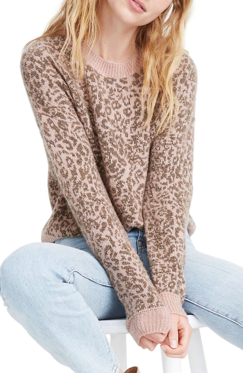 MADEWELL Leopard Print Shrunken Pullover Sweater, Main, color, MARLED ROSE