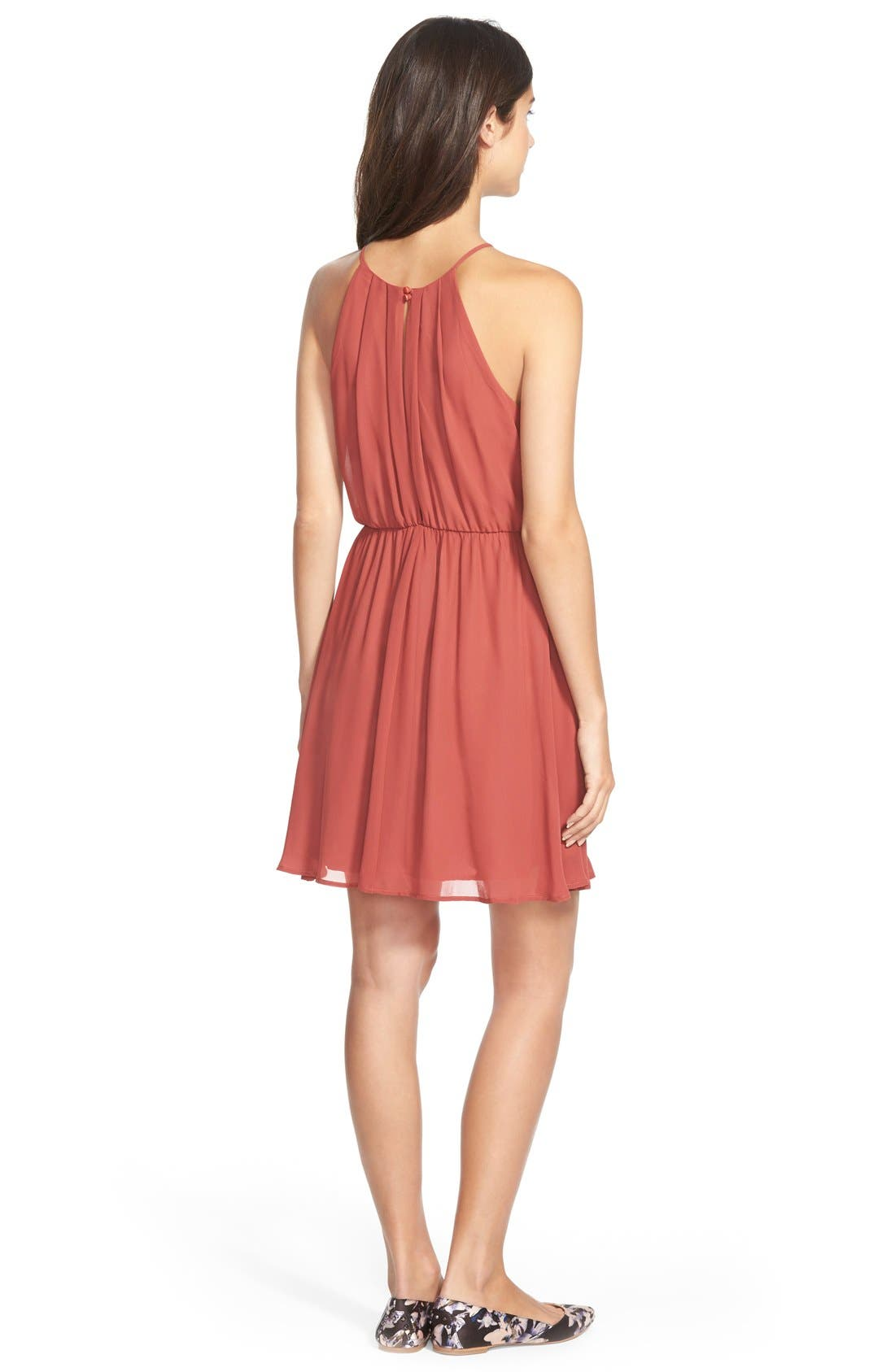 ,                             Blouson Chiffon Skater Dress,                             Alternate thumbnail 195, color,                             629