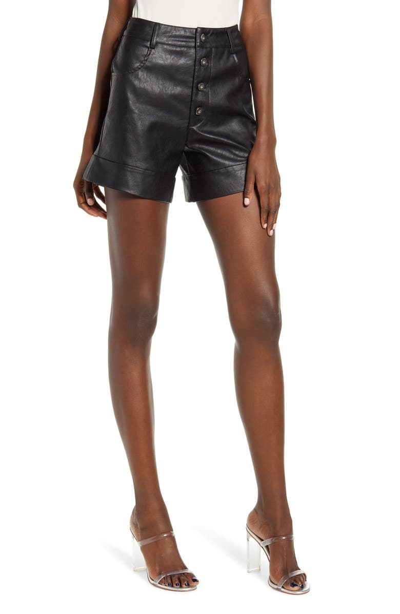 TIGER MIST High Waist Faux Leather Shorts, Main, color, BLACK