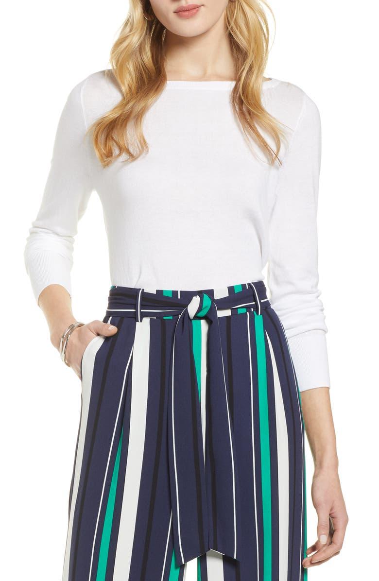 HALOGEN<SUP>®</SUP> Bateau Neck Sweater, Main, color, WHITE