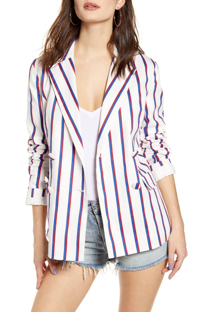 ENGLISH FACTORY Striped Double Breasted Blazer, Main, color, WHITE