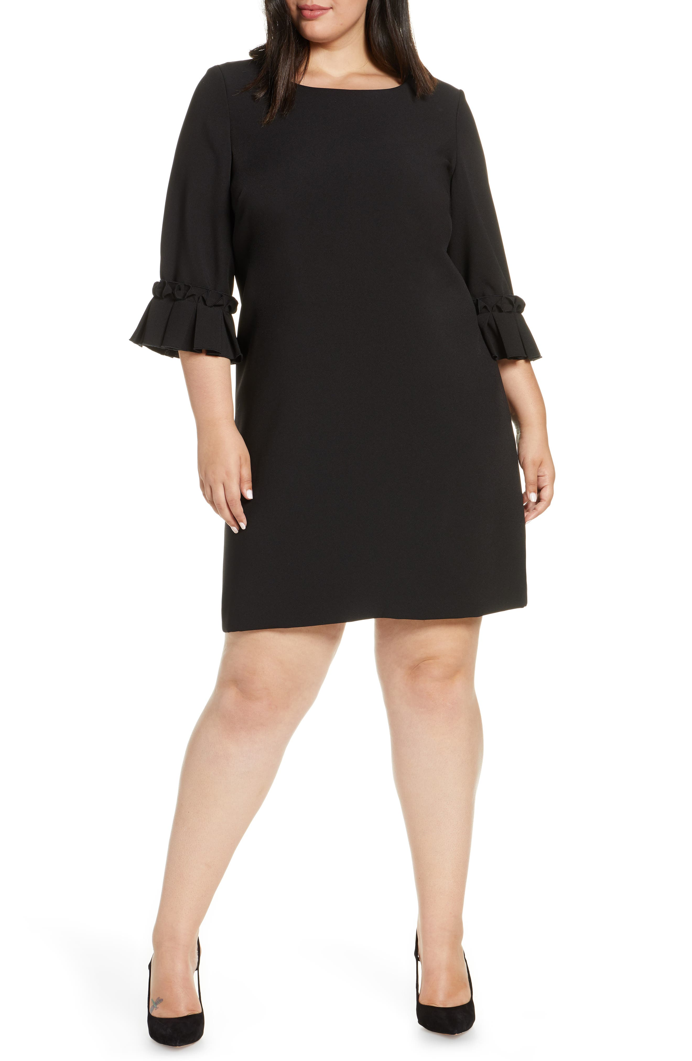 8fa99ac28d7e Plus Size Tahari Ruffle Sleeve Shift Dress