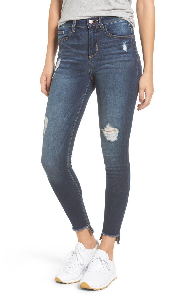 SP BLACK High Waist Step Hem Skinny Jeans, Main, color, 401