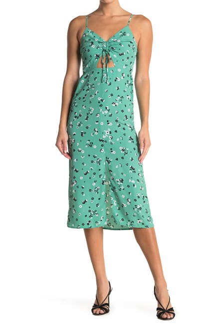 Image of TOPSHOP Molly Front Cutout Ruched Floral Midi Dress