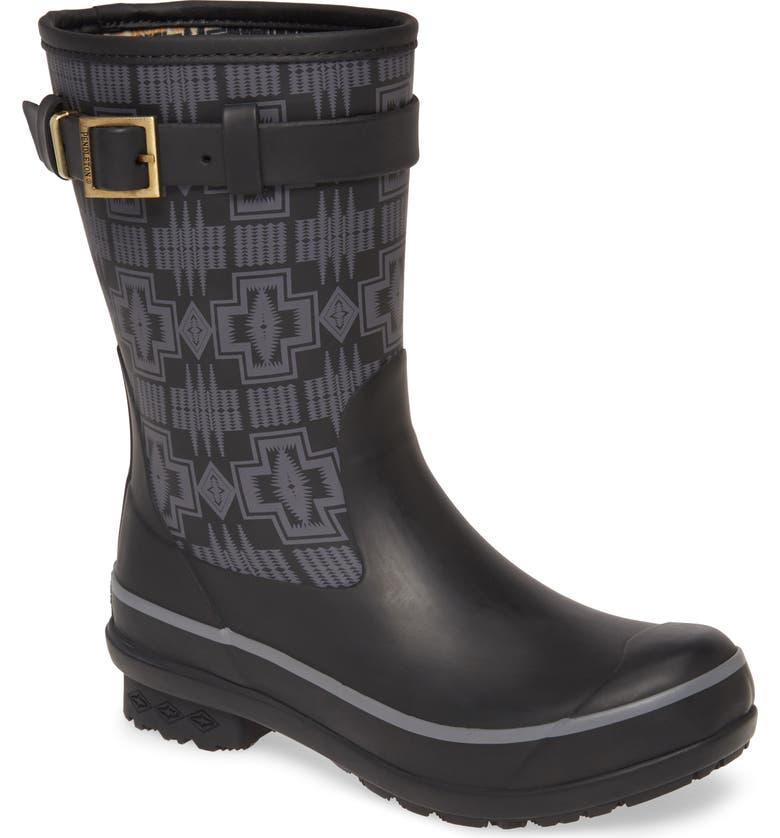 PENDLETON Harding Waterproof Short Rain Boot, Main, color, BLACK RUBBER