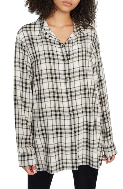 Image of Sanctuary Stone Plaid Print Button-Up Tunic