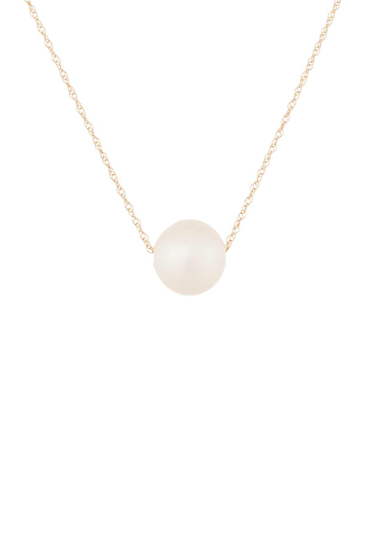 Image of Splendid Pearls 14K Rose Gold 10-11mm Freshwater Pearl Pendant Necklace