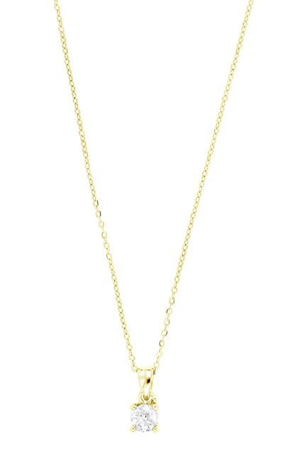 Image of Carriere 10K Yellow Gold Diamond Solitaire Pendant Necklace - 0.10 ctw