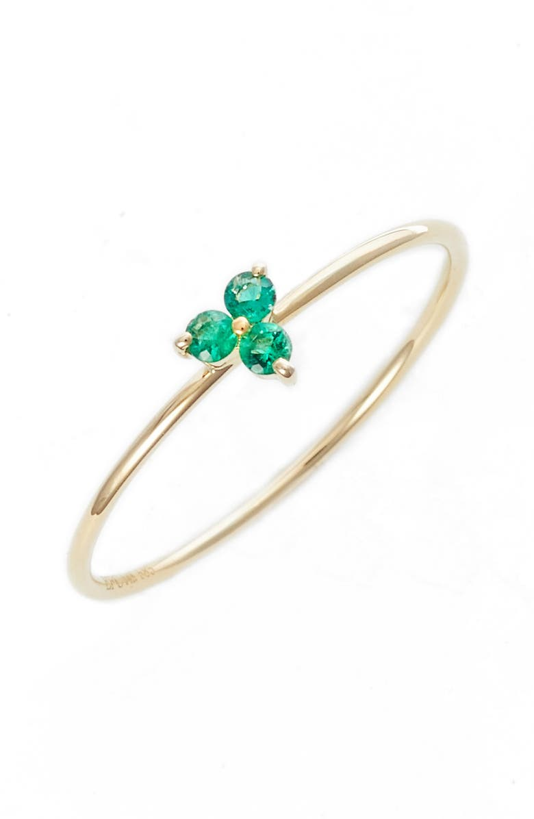 EF COLLECTION Gemstone Ring, Main, color, EMERALD