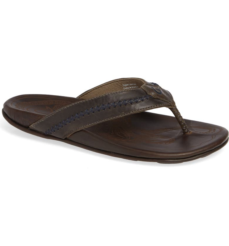 OLUKAI Mea Ola Flip Flop, Main, color, DARK SHADOW/ MUSTANG LEATHER
