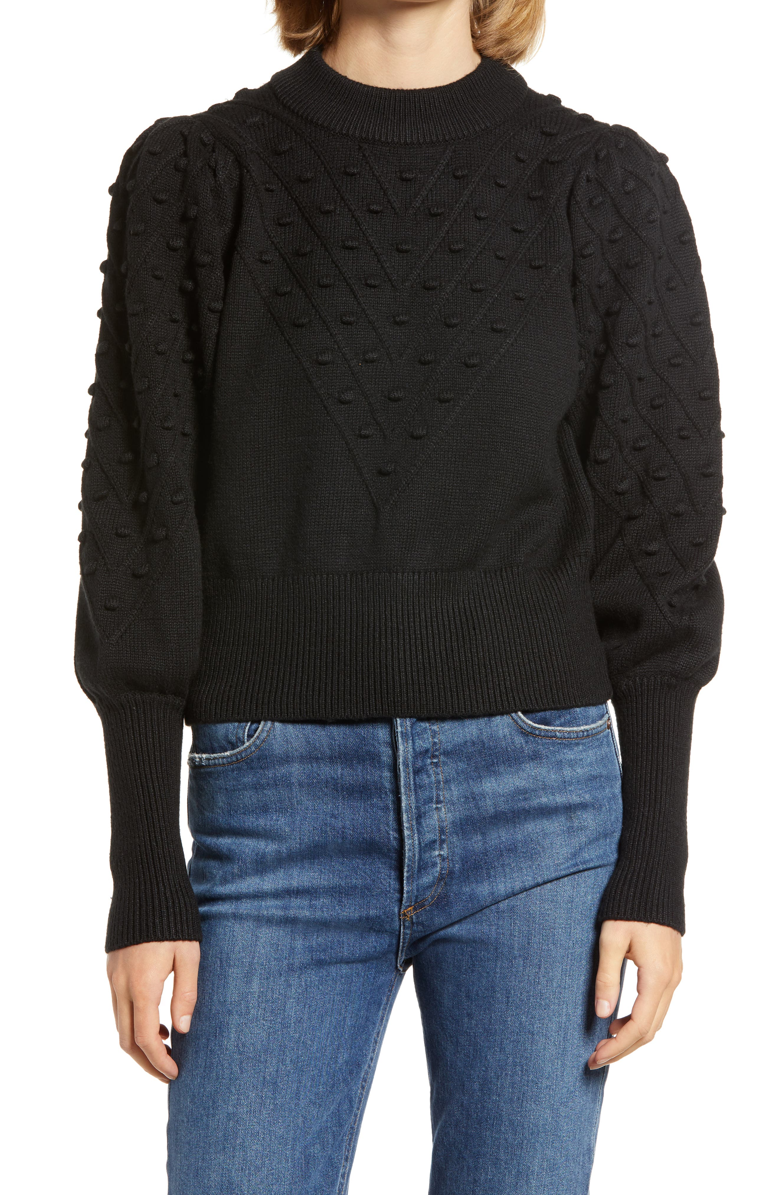 French Connection Bishop Sleeve Crop Cotton Blend Bobble Sweater   Nordstrom