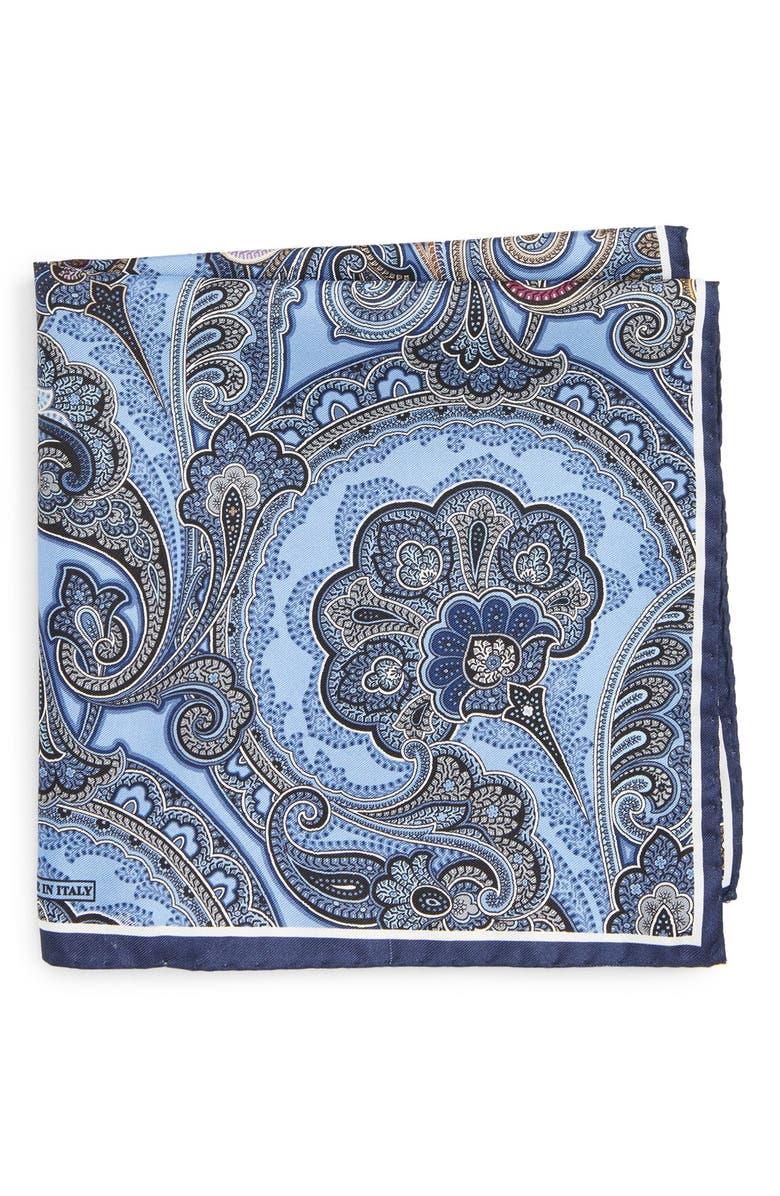 NORDSTROM MEN'S SHOP Paisley Silk Pocket Square, Main, color, BLUE