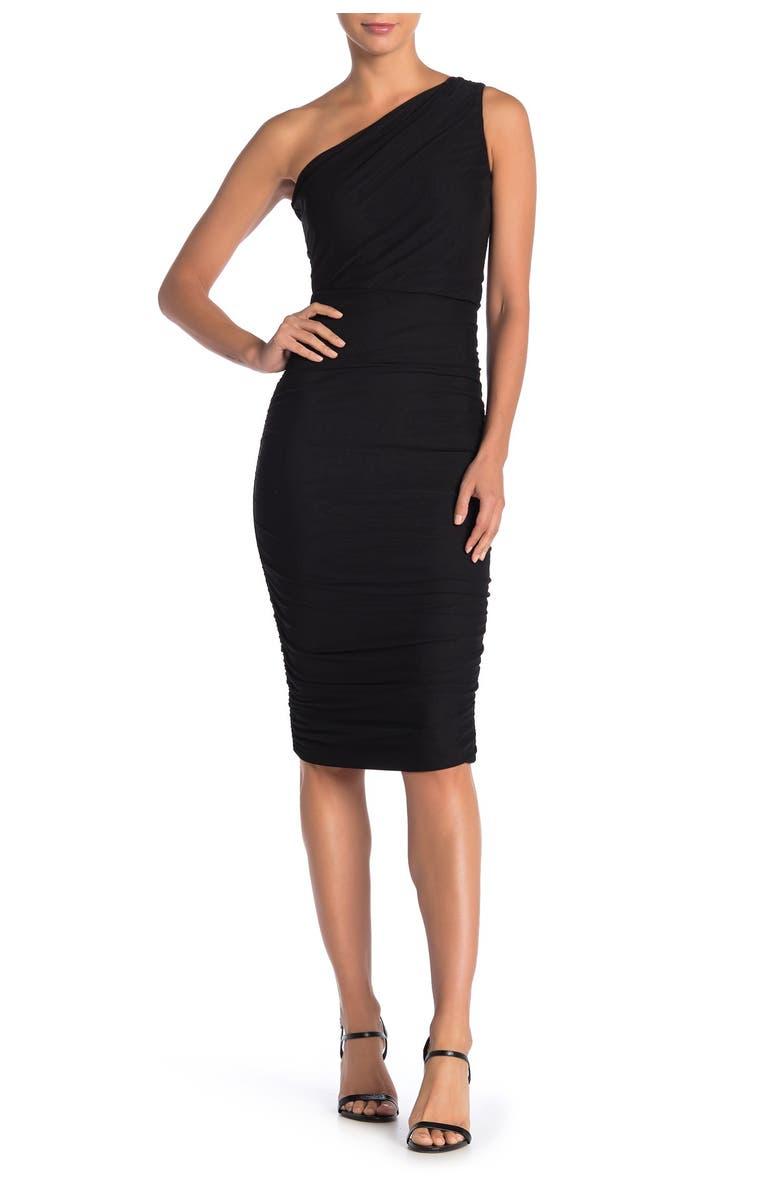LOVE BY DESIGN Ruched One Shoulder Midi Dress, Main, color, JET BLACK