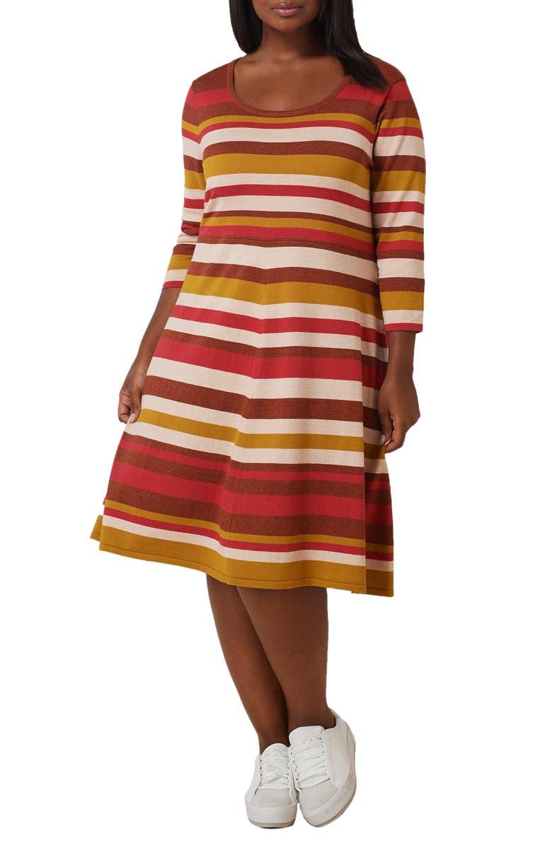 MARÉE POUR TOI Stripe Fit & Flare Sweater Dress, Main, color, RUST