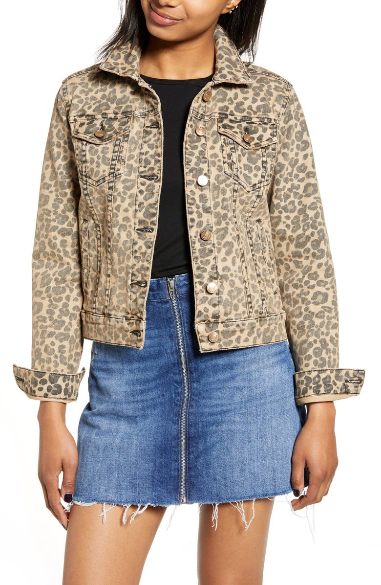 STS BLUE Colbey Leopard Print Denim Jacket, Main, color, BROWN LEOPARD