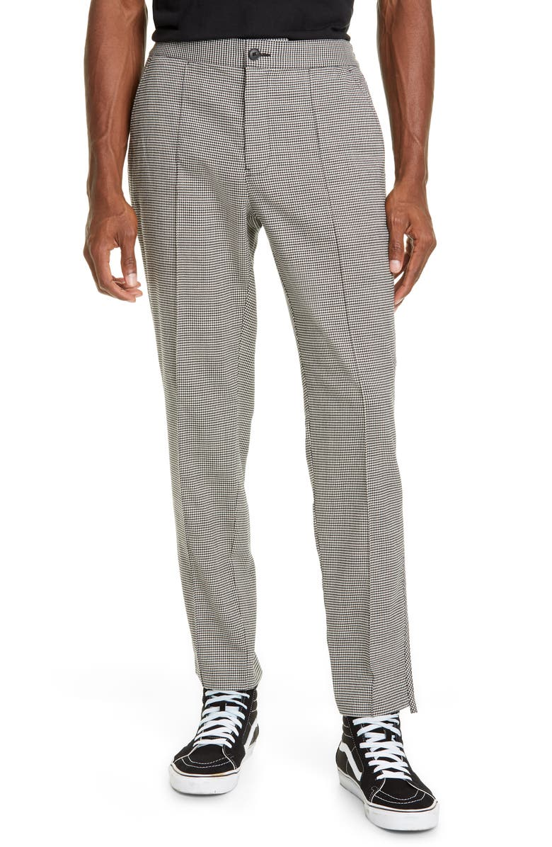 OVADIA Straight Leg Houndstooth Stretch Wool Pants, Main, color, 001