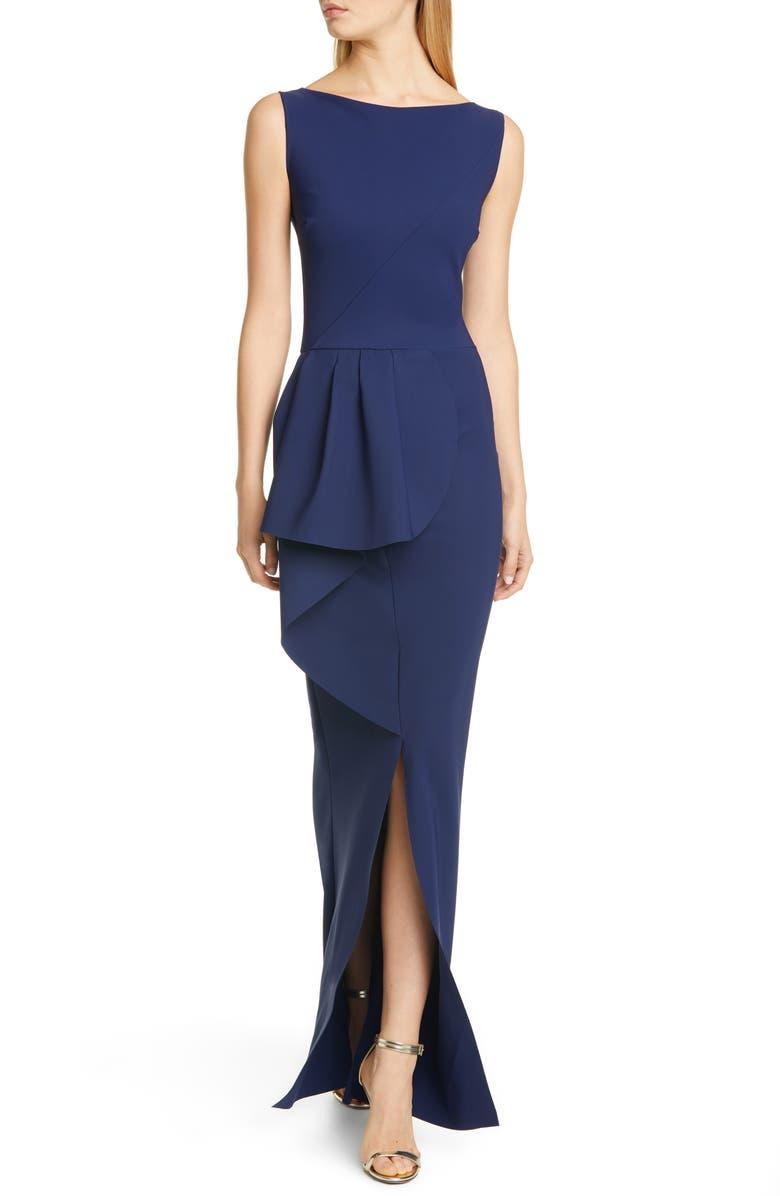 CHIARA BONI LA PETITE ROBE Quirina Ruffle Gown, Main, color, BLUE NOTTE