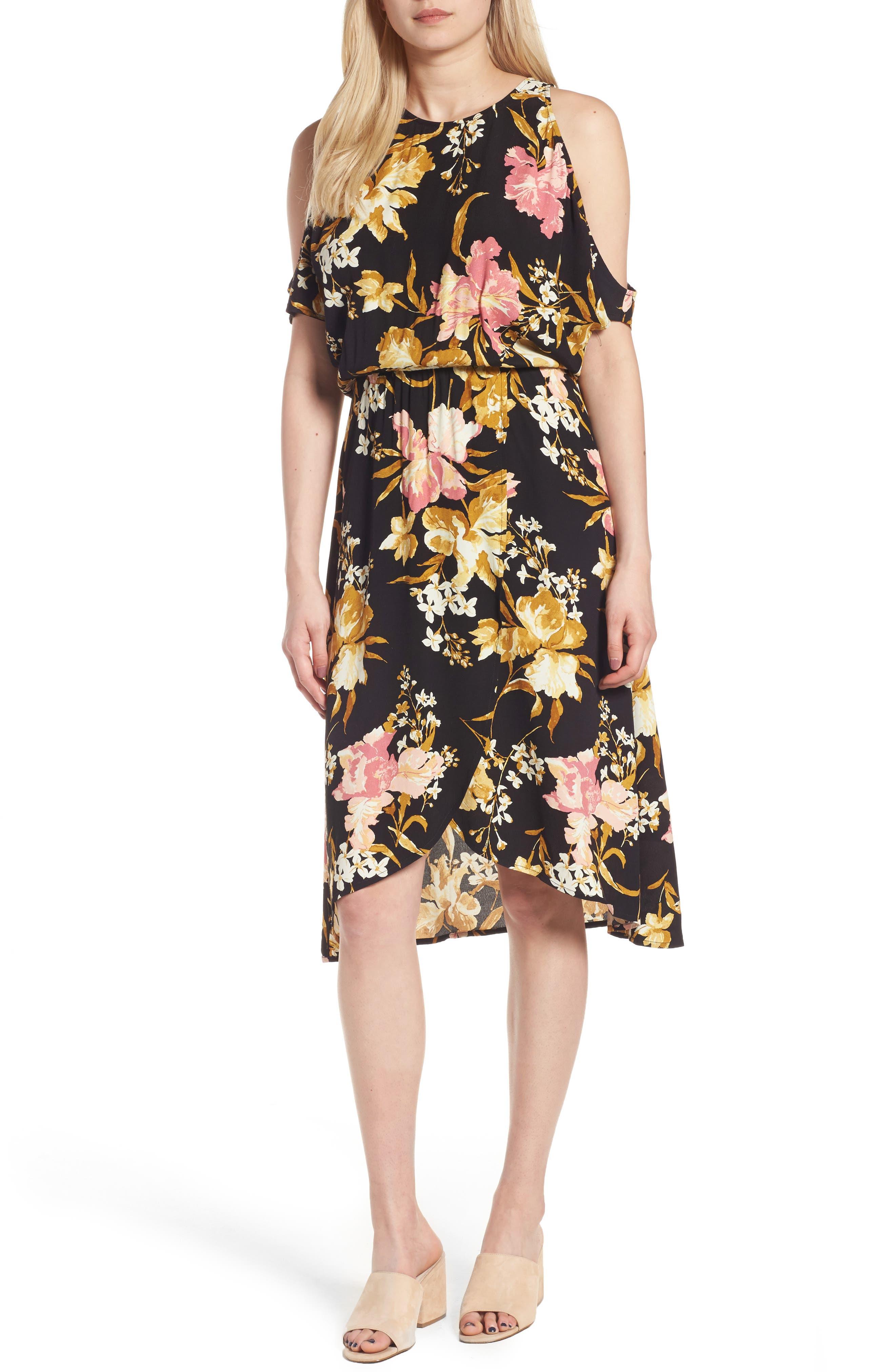 ,                             Cold Shoulder Midi Dress,                             Main thumbnail 1, color,                             001