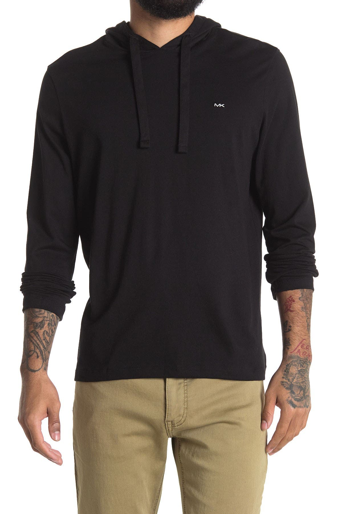 Image of Michael Kors Solid Long Sleeve Hooded T-Shirt