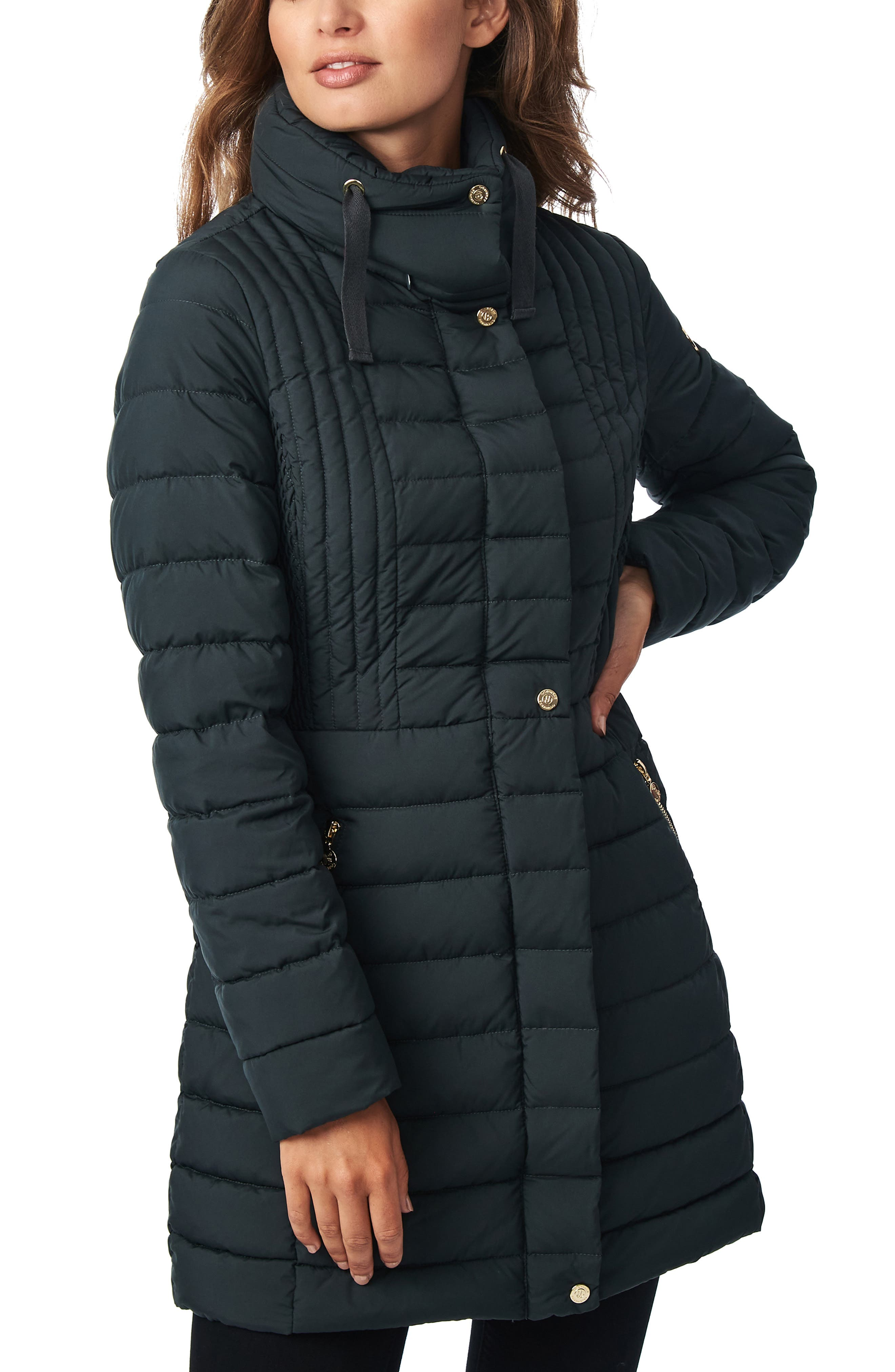 Strategic seaming offers a shapely silhouette in a channel-quilted puffer jacket that\\\'s a great choice for cozy commutes. A blend of cruelty-free, traceable down and synthetic PrimaLoft fill provides insulating warmth and wet-weather performance in a garment that\\\'s soft, lightweight and packable. Style Name: Bernardo Down & Primaloft Walker Jacket. Style Number: 5869629. Available in stores.