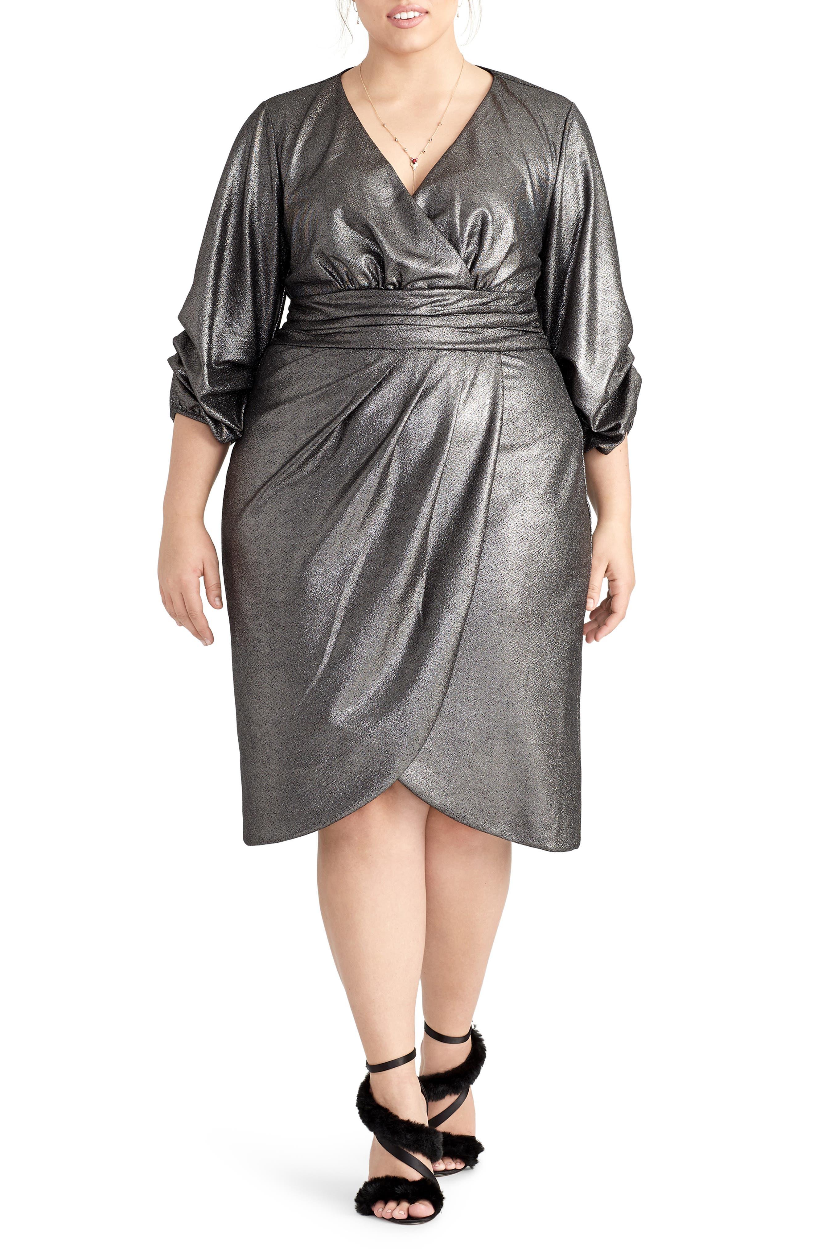 60s 70s Plus Size Dresses, Clothing, Costumes Plus Size Womens Rachel Rachel Roy Metallic Faux Wrap Dress Size 20W - Metallic $119.25 AT vintagedancer.com