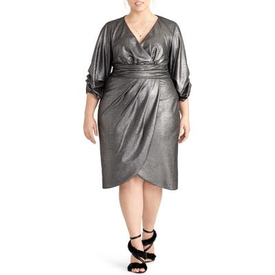 Plus Size Rachel Rachel Roy Metallic Faux Wrap Dress, Metallic