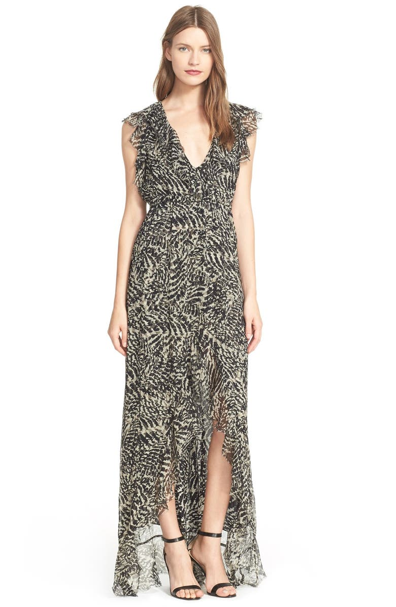 L'AGENCE 'Sophie' Print Flutter Maxi Dress, Main, color, 003
