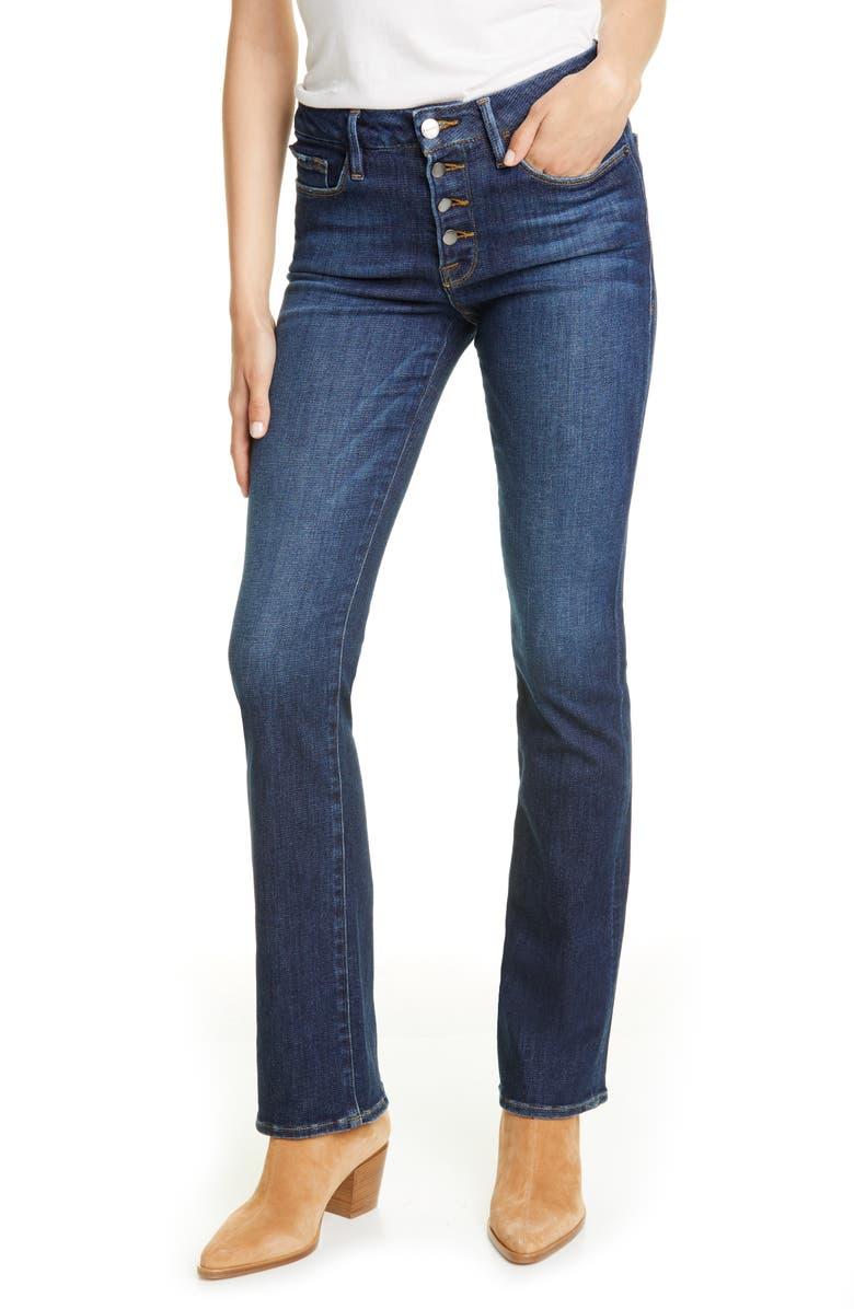 FRAME Le Mini Boot Button Fly Jeans, Main, color, VINYL