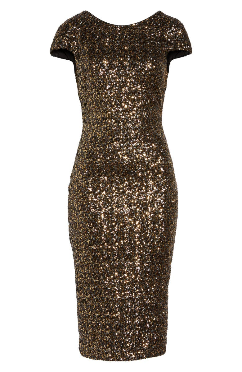 DRESS THE POPULATION 'Marcella' Open Back Sequin Body-Con Dress, Main, color, 716