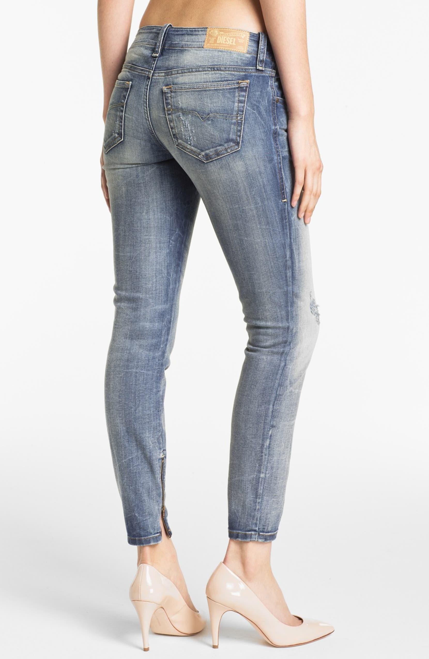 7b640b26 DIESEL® 'Grupee' Distressed Denim Skinny Jeans (Blue Distressed) | Nordstrom