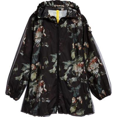 Moncler Genius X 4 Simone Rocha Floral Print Hooded Jacket, Black