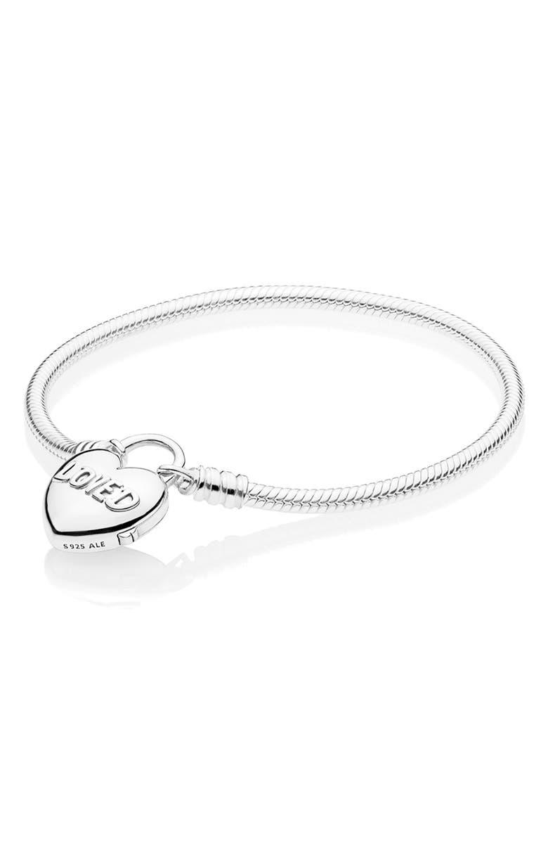 PANDORA Heart Padlock Bracelet, Main, color, SILVER