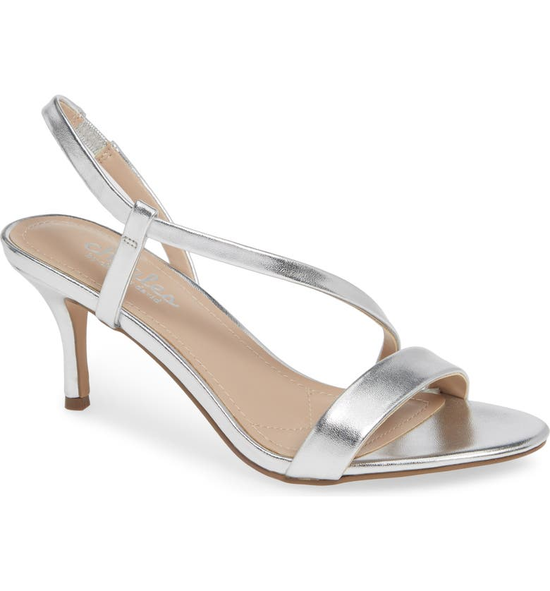CHARLES BY CHARLES DAVID Bermuda Asymmetrical Sandal, Main, color, SILVER FAUX LEATHER