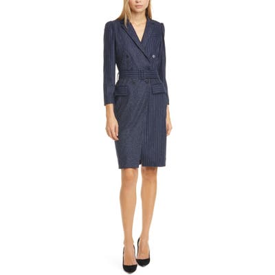 Tailored By Rebecca Taylor Mixed Pinstripe Long Sleeve Blazer Dress, Blue