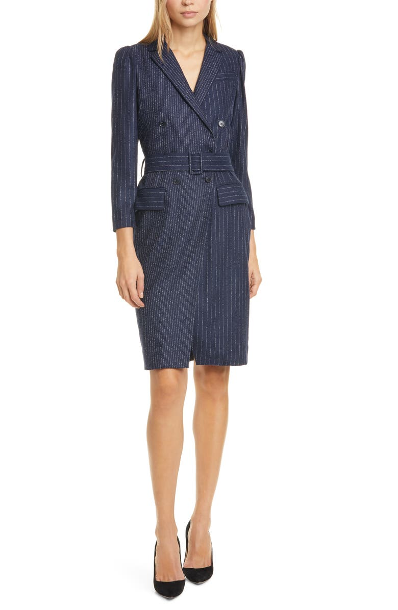 TAILORED BY REBECCA TAYLOR Mixed Pinstripe Long Sleeve Blazer Dress, Main, color, 410