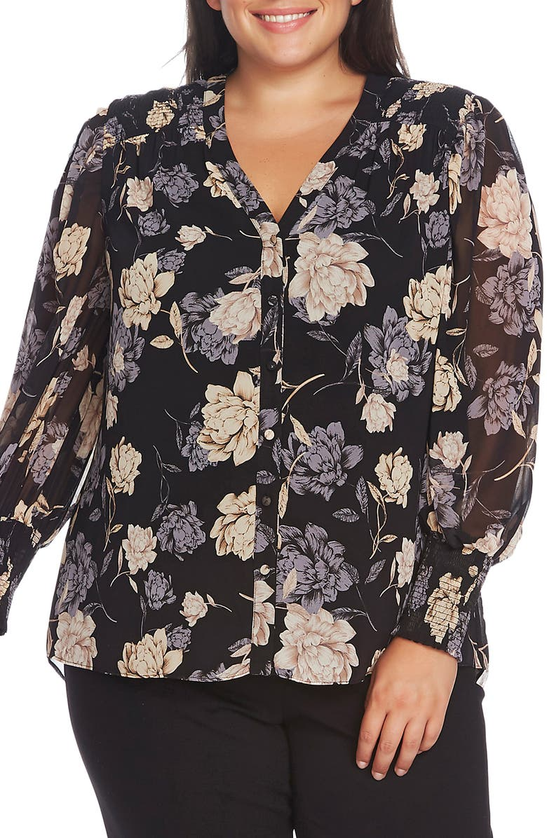 VINCE CAMUTO Enchanted Floral Smock Cuff Blouse, Main, color, RICH BLACK